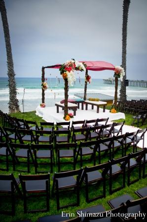 Indian wedding ceremony mandap beach in Picturesque Indian Wedding + Garba by Erin Shimazu Photography, San Diego, California