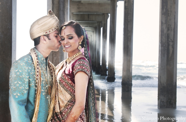 Indian wedding groom bride portrait ceremony in Picturesque Indian Wedding + Garba by Erin Shimazu Photography, San Diego, California