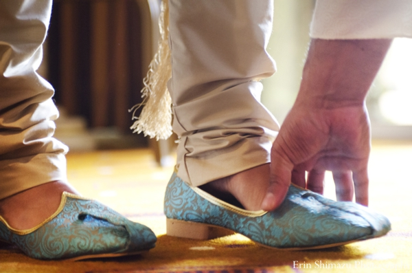 light blue,indian wedding shoes,groom's wedding shoes,Erin Shimazu Photography,traditional wedding shoes