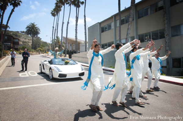 Indian wedding groom groomsmen baraat in Picturesque Indian Wedding + Garba by Erin Shimazu Photography, San Diego, California