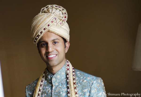 Indian wedding groom traditional dress sherwani in Picturesque Indian Wedding + Garba by Erin Shimazu Photography, San Diego, California