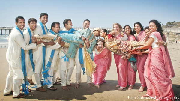 teal,white,baby pink,wedding party,wedding party portraits,saris,indian wedding party,beach weddings,traditional sherwanis,sherwanis,traditional dress for indian women and men,traditional saris,Erin Shimazu Photography