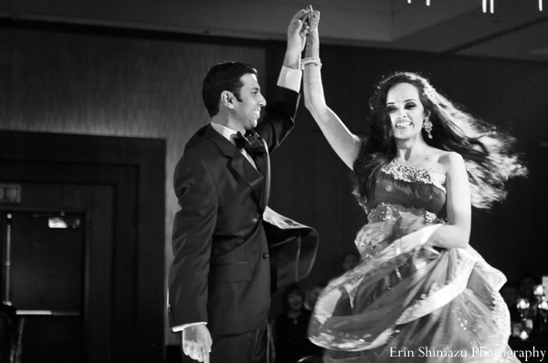 indian wedding reception,dancing at wedding reception,black and white photography,bride and groom dancing at wedding reception,wedding reception photography,Erin Shimazu Photography
