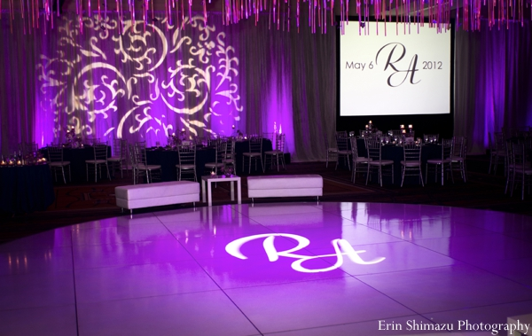 Indian wedding reception dance floor purple lighting in Picturesque Indian Wedding + Garba by Erin Shimazu Photography, San Diego, California