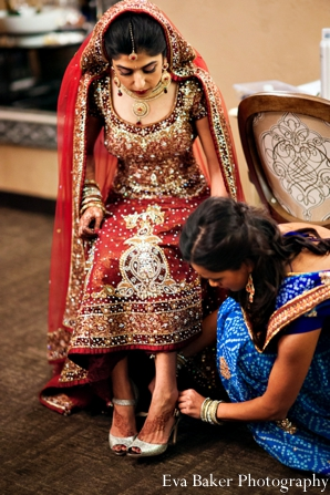Indian-wedding-getting-ready-bride-lengha-shoes