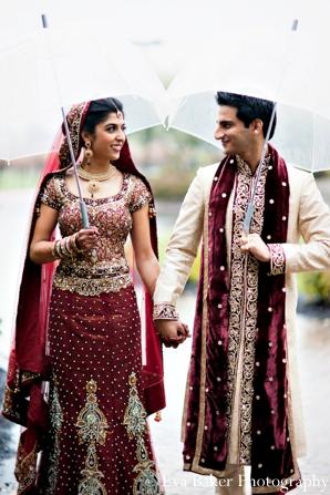 Indian-wedding-portrait-groom-bride-umbrella