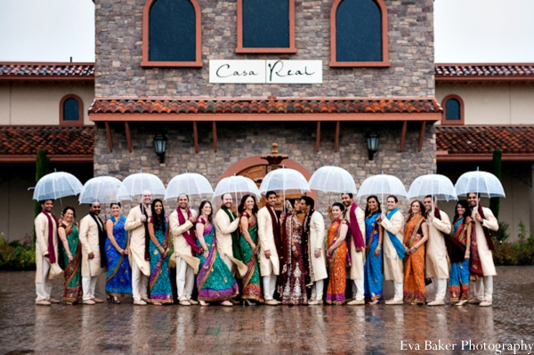 Indian-wedding-portrait-wedding-party-umbrellas