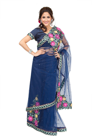 Blue fashion indian floral sari