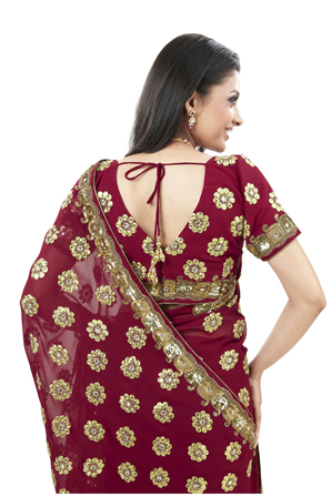 Red fashion indian gold sari