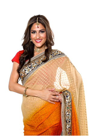 Multicolored fashion indian sari orange red cream
