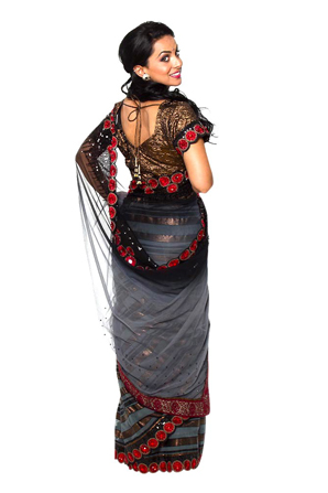 Black indian fashion sari clothing