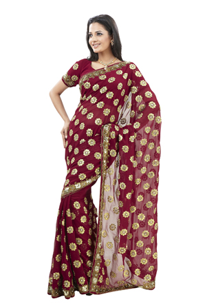 Red indian fashion gold sari