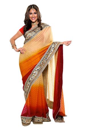 Multicolored indian fashion sari orange red cream