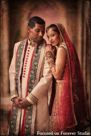 red,gold,cream,white,bridal fashions,portraits,indian bride and groom,indian bride groom,photos of brides and grooms,images of brides and grooms,indian bride grooms,indian wedding outfits,indian wedding outfits for brides,Focused On Forever Studio