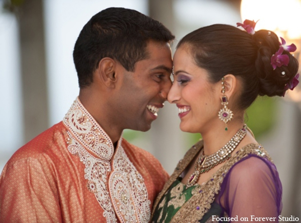 Indian wedding bride groom portrait in Boca Raton, Florida Indian Wedding by Focused on Forever Studio
