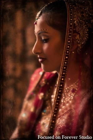 Indian wedding bride veil jewelry in Boca Raton, Florida Indian Wedding by Focused on Forever Studio