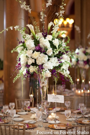 Indian wedding floral centerpiece decor in Boca Raton, Florida Indian Wedding by Focused on Forever Studio