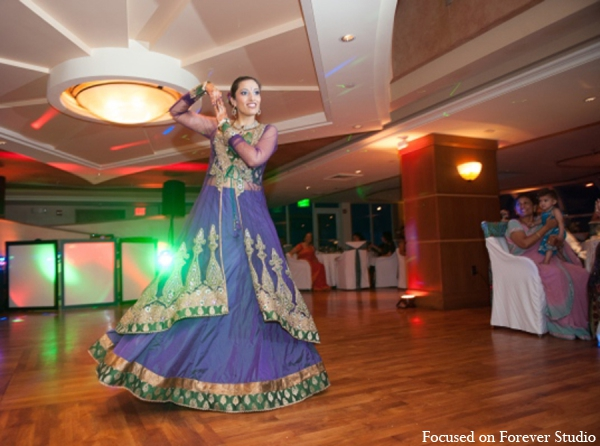 Indian wedding reception bride lengha in Boca Raton, Florida Indian Wedding by Focused on Forever Studio