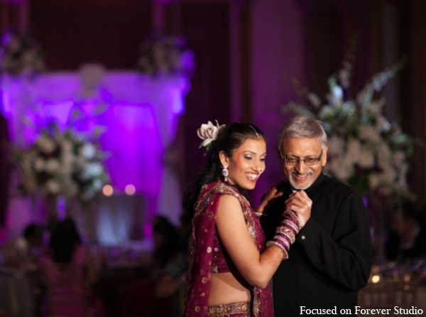 Indian wedding reception father daughter dance in Boca Raton, Florida Indian Wedding by Focused on Forever Studio