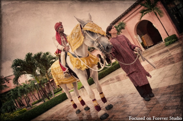 Indian wedding traditional groom baraat in Boca Raton, Florida Indian Wedding by Focused on Forever Studio
