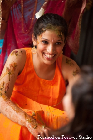 orange,red orange,gaye holud,traditional indian wedding,indian wedding traditions,Focused On Forever Studio