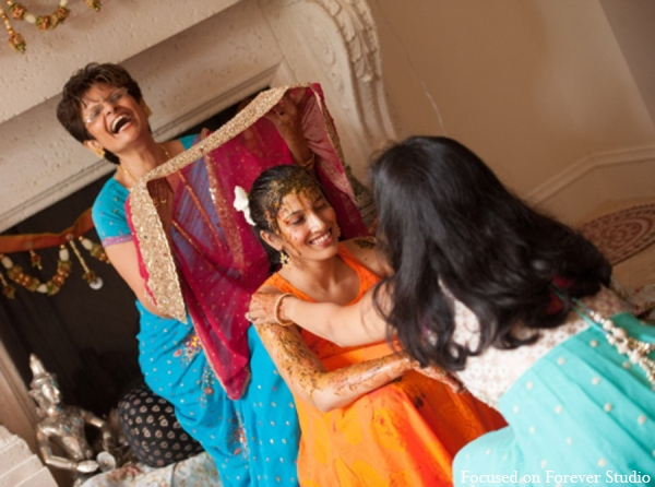 teal,orange,blue,pink,gaye holud,traditional indian wedding,indian wedding traditions,Focused On Forever Studio