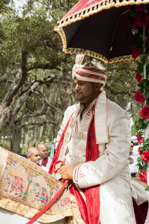 Indian wedding baraat tradition in Orlando, Florida Fusion Wedding by Garrett Frandsen