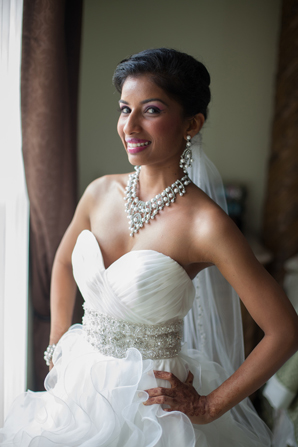 Indian wedding bride fusion accessories in Orlando, Florida Fusion Wedding by Garrett Frandsen