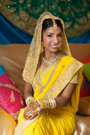 Indian wedding bride outfit sangeet in Orlando, Florida Fusion Wedding by Garrett Frandsen