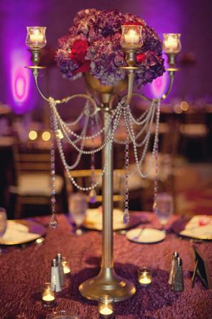 Indian wedding floral decor lighting in Orlando, Florida Fusion Wedding by Garrett Frandsen