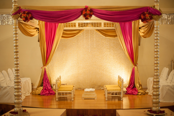 Indian wedding mandap decor in Orlando, Florida Fusion Wedding by Garrett Frandsen