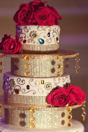 Indian wedding reception cake in Orlando, Florida Fusion Wedding by Garrett Frandsen