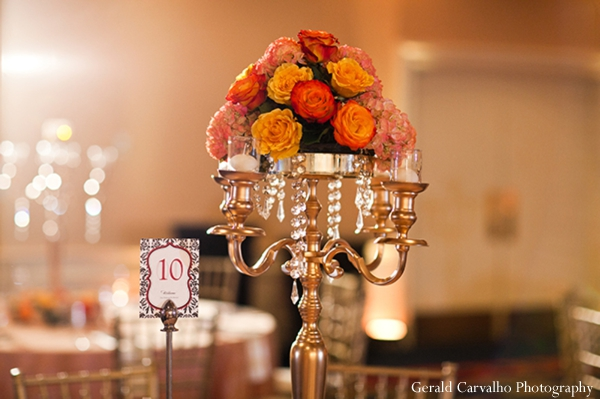 Indian wedding reception floral decor table setting in San Mateo, California Indian Wedding by Gerald Carvalho Photography