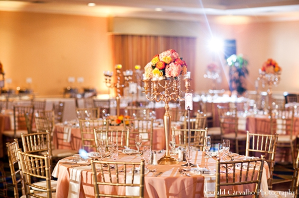 Indian wedding reception table decor ideas in San Mateo, California Indian Wedding by Gerald Carvalho Photography