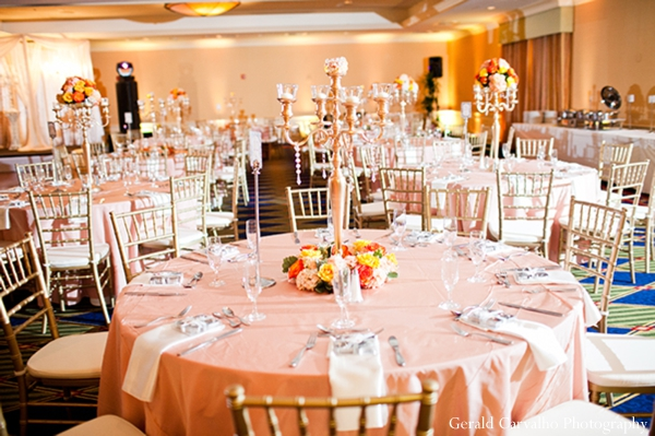 pale orange,salmon,indian wedding reception,reception tables,gerald carvalho photography,indian wedding reception floral and decor,indian wedding reception ideas