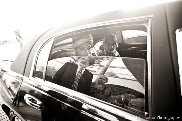 indian wedding ceremony,indian bride,black and white photography,gerald carvalho photography,bride and groom getaway car