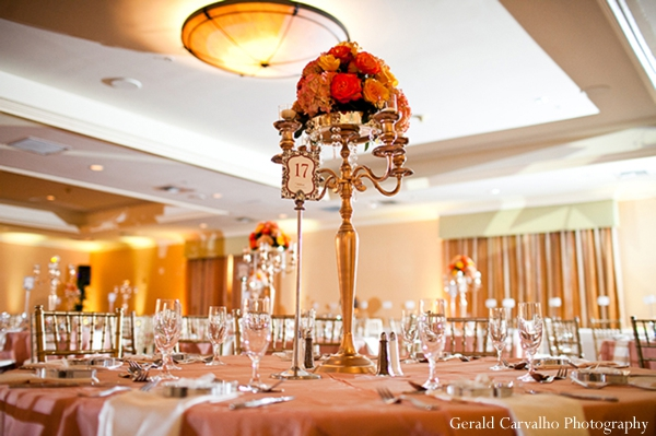 orange,pale orange,indian wedding floral and decor,salmon,indian wedding reception,reception tables,gerald carvalho photography,indian wedding reception floral and decor,indian wedding reception ideas