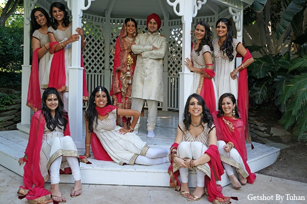 Indian wedding bridal party groom bride in Newport Beach, CA Indian Wedding by Getshot By Tuhan