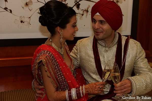 Indian wedding bride groom champagne in Newport Beach, CA Indian Wedding by Getshot By Tuhan