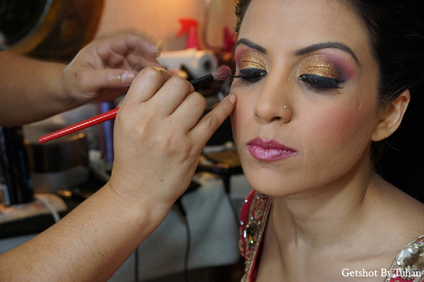 Indian wedding bride makeup gold eyeshadow in Newport Beach, CA Indian Wedding by Getshot By Tuhan