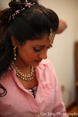 Indian wedding bride prep traditional jewelry in Agawam, Massachusetts Indian Wedding by Gio Jung Photography