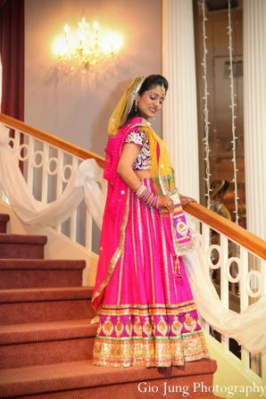 Indian wedding bridal portrait traditional lengha in Agawam, Massachusetts Indian Wedding by Gio Jung Photography