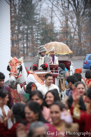 Indian wedding traditional baraat groom celebration in Agawam, Massachusetts Indian Wedding by Gio Jung Photography