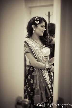 Indian wedding bridal portrait black and white in Agawam, Massachusetts Indian Wedding by Gio Jung Photography