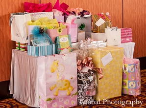 Indian baby shower gifts treats yellow pink
