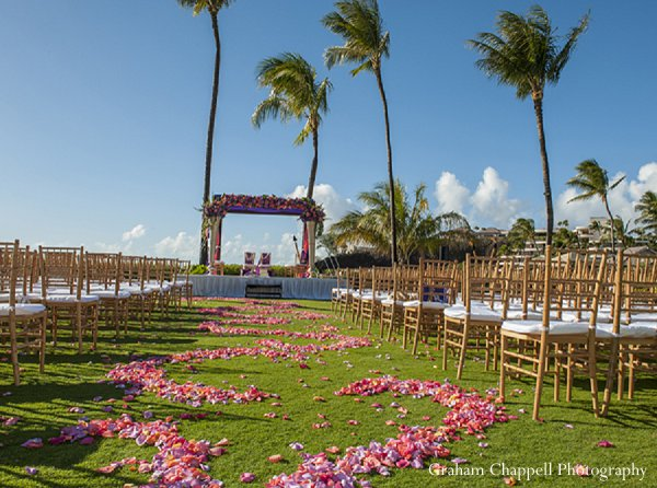 Indian wedding aisle floral ceremony mandap in Lahaina, HI Indian Wedding by Graham Chappell Photography