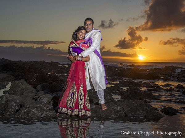 Indian wedding bride beach groom in Lahaina, HI Indian Wedding by Graham Chappell Photography