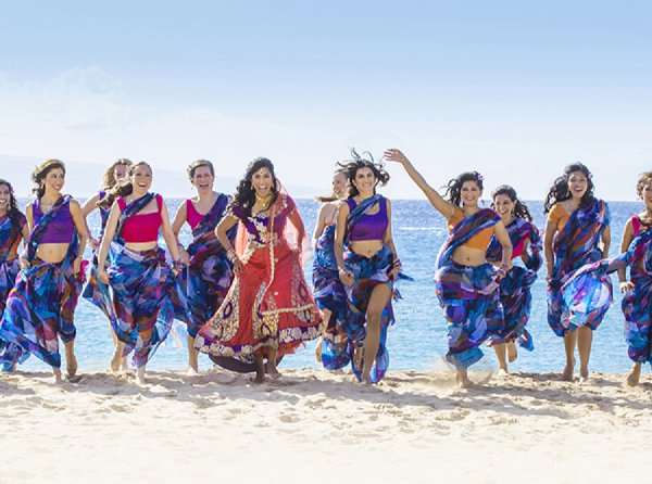 Indian wedding bride bridal party in Lahaina, HI Indian Wedding by Graham Chappell Photography