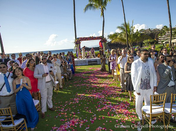 Indian wedding ceremony aisle mandap in Lahaina, HI Indian Wedding by Graham Chappell Photography