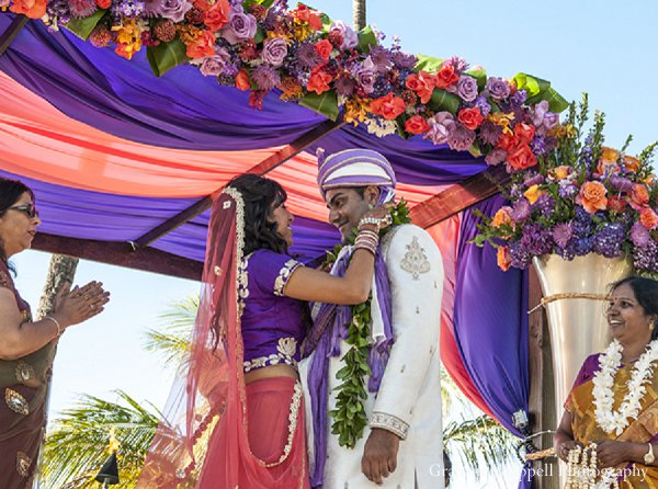 Indian wedding ceremony bride mandap in Lahaina, HI Indian Wedding by Graham Chappell Photography